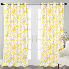Driftaway Elina Rustic Woodland Animals Lined Thermal Insulated Blackout Room Darkening Grommet Energy Saving Window Curtain 2 Layers Set Of Two Panels Each 52 X84 Yellow Nbsp Walmart Com Walmart Com