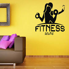 Fitness Selfie Wall Decals Interior Decor Crossfit Motivation Workout Gym Vinyl Wall Sticker Sport Bodybuilding Girl Mural S211 Wall Stickers Aliexpress