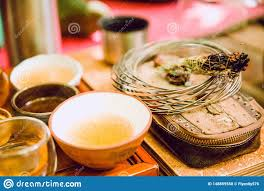 Asian Ceremony. Yellow Green Tea. Herbal Incense. Spa Stock Photo ...
