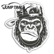 Jump Time Grumpy Gorilla Vinyl Stickers Monkey Sticker Laptop Luggage Car Assessoires Window Decals Car Wrap Diy Car Stickers Aliexpress