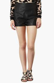 lola high waist faux leather shorts
