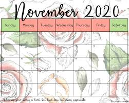 printable calendar in beautiful floral designs