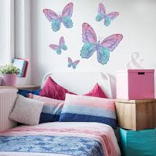 Five Watercolor Butterfly Wall Decals Eco Friendly Matte Fabric Wall