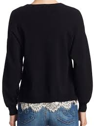 Alice + Olivia Iva Long Sleeve Lace Detail Black Sweater - Tradesy