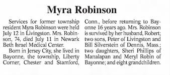 Obituary for Myra Robinson (Aged 74) - Newspapers.com