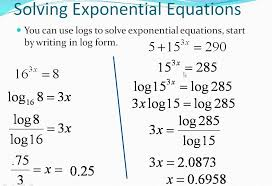 exponential equations using logarithms