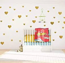 Amazon Com Assorted Miz Size Removable Gold Hearts Wall Decals For Kids Room Decoration Mix 97pcs Gold Wall Decals Stickers Easy To Peel Easy To Stick Metallic Vinyl Decor By Bugybagy Gold Heart Mix Baby