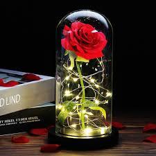 جمال الورد المسحور والوحش Led زجاج قبة الخشب قاعدة ضوء زهرة عيد