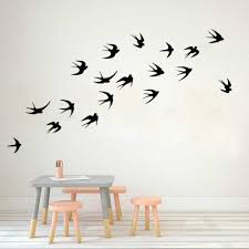 Flying Swallows Wall Sticker Kids Room Nursery Flock Of Birds Set Of 18 Animal Wall Decal Bedroom Living Room Vinyl Art Decor Wall Stickers Aliexpress