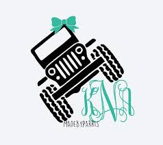 Jeep Monogram Decal With Bow Jeep Decal Glitter Decal Yeti Decal Preppy Jeep Decal Monogram Decal Personalized Decal Jeep Decals Monogram Yeti Monogram