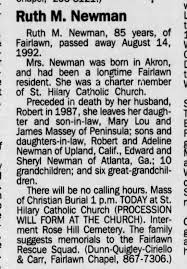 OBITUARY: Ruth Mary Hallihan NEWMAN wife of Robert Kenneth Newman deceased,  listing survivors. - Newspapers.com