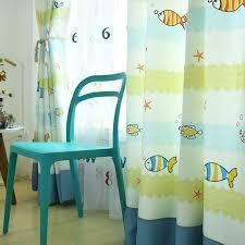 Bright Yellow Blue Fish Curtains For Boys Kid Nursery Bedroom Design