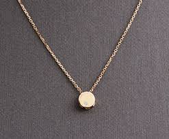14k solid gold round pendant necklace