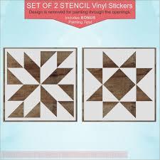 Set Of 2 Barn Quilt Stencil Art Stickers Diy Wood Farmhouse Home Decor Wall Decor Plus More