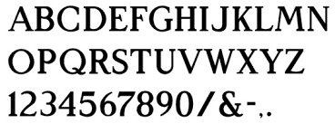 letters in architectural font style