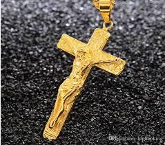 18k golden solid s steel cross
