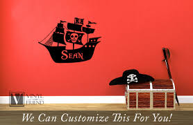 Custom Name Pirate Ship With Skull And Cross Bones Flag A Personalized Wall Decor Vinyl Decal Lettering 2246