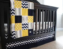 crib bedding set in navy blue gray and