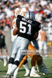 Aaron Wallace of the Los Angeles Raiders in action against the ...
