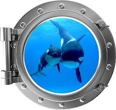 Buy 24 Porthole 3d Window Wall Decal Killer Whale Cub Silver Port Scape Orca Baby Whale Ocean Sea Animal Wall Art Peel And Stick Kids Room Decor At We Love Whales