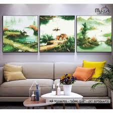 Bộ tranh tô màu theo số sơn dầu số hóa - Tranh quê hương nông thôn làng quê  bến sông mã TQ1067SS