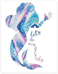 Amazon Com Let S Be Mermaids Print In 18x24 Inch Print Mermaid Print Mermaid Wall Sign Baby Nursery Wall Decor Kids Bedroom Decor Kids Posterquote Photo Mermaid Decor Wall Mermaid Silhouette Posters Prints