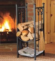 wood rack with fireplace tools black