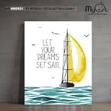 Tranh tự tô màu theo số sơn dầu số hóa Myart - Tranh thuyền buồm trên biển  đơn giản dễ vẽ HH0931