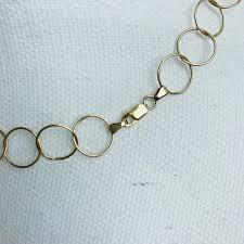 gold big link necklace gold circle