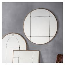 large art deco round panel mirror 90cm