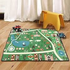 Amazon Com Yrugs Kids Rug Street Map Play Mat Educational Baby Theme Park Area Rugs City Life Cars Roads Child Large Carpet For Playroom Nursery Bedroom Living Room Classroom Forest Park Kitchen