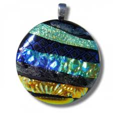 Patterned Textured Dichroic Glass Pendant