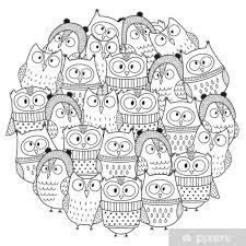 Sticker Grappige Uilen In De Winter Cirkel Vorm Patroon Voor