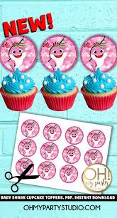 Baby Shark Cupcake Toppers Instant Download Tarjetas De Cumpleanos Cumpleanos Tarjetas