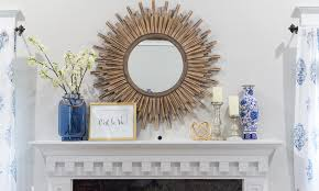 a wooden sunburst mirror to brighten