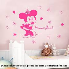 Amazon Com Personalised Name Disney Minnie Mouse Crown Home Decor Removable Wall Stickers Vinyl Decals With 14 Stars Handmade
