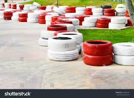 Racetrack Fence Red White Old Tires Stock Photo Edit Now 450245659
