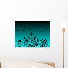 Tree Crows Twilight Wall Decal Wallmonkeys Com