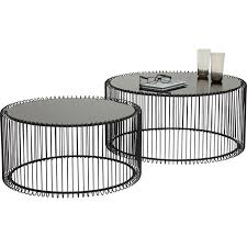 coffee table wire black 2 set kare