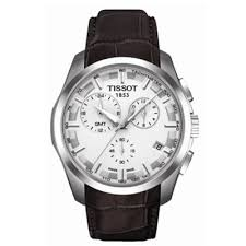 tissot mens brown leather strap watch