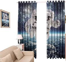 Amazon Com Oobon Shades Window Curtains Kids Outer Space Theme Astronaut In Milkyway Galaxy Stardust Earth Blackout Curtain 84 Inch For Home Kitchen Room 120x84 Inch Home Kitchen