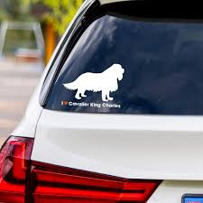 Amazon Com I Love Cavalier King Charles White Vinyl Car Sticker Decal Computers Accessories