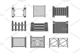 Fence Wooden And Brick Fences For Pre Designed Vector Graphics Creative Market