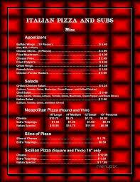 menu of italian pizza subs
