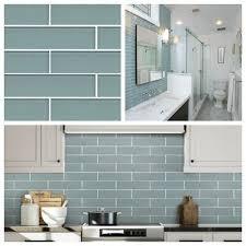 aqua blue glass subway tile for kitchen