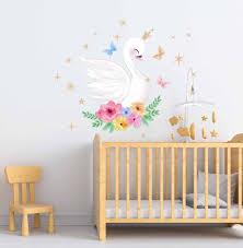 Swan Wall Decal Nursery Decals Fabric Wall Decal Girl Wall Etsy In 2020 Baby Room Wall Art Nursery Wall Decals Girls Wall Stickers
