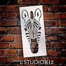Zebra Portrait Stencil Front View By Studior12 Diy Classroom Kids Room Home Decor Decor Nursery Zoo Animal Craft Paint Wood Signs Reusable Mylar Template Select Size Creative Arts Lifestyle