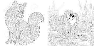 Coloring Page Adult Coloring Book Set Wild Fox Animal Swan