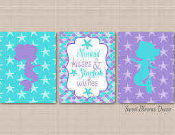 Mermaid Decor Purple Teal Wall Art Mermaid Room Decor Mermaid Nursery Mermaid Bathroom Kisses Starfish Wishes Unframed 3 Prints Not Canvas C567 Handmade Cjp Org In