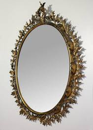 bronze baroque wreath oval mirror